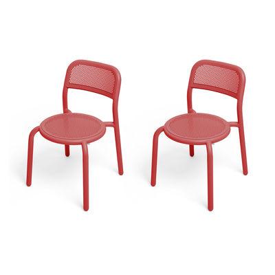 Mobilier - Chaises, fauteuils de salle à manger - Chaise empilable Toní / Set de 2 - Aluminium perforé - Fatboy - Rouge Industriel - Aluminium