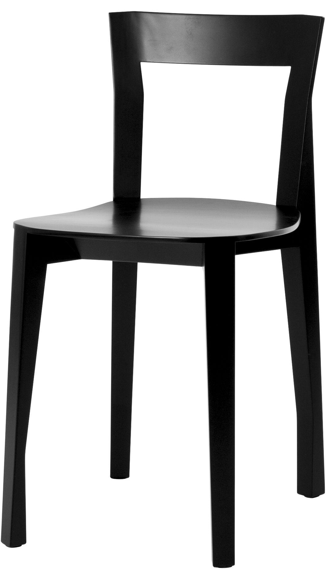 Mobilier - Chaises, fauteuils de salle à manger - Chaise Quadrille / Bois - Moustache - Noir - Contreplaqué de frêne, Frêne massif
