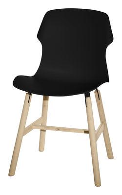 Mobilier - Chaises, fauteuils de salle à manger - Chaise Stereo wood / Polypropylène & pieds bois - Casamania - Noir - Bois massif, Polypropylène
