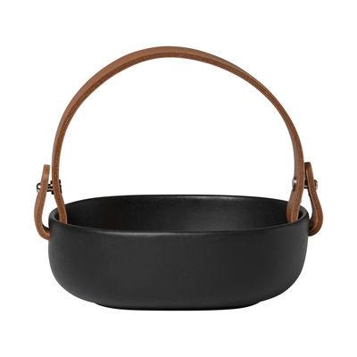 Tableware - Serving Plates - Pikku Koppa Small Dish - / 12 x 13 cm - Removable leather handle by Marimekko - Mat black - Enamelled sandstone, Leather