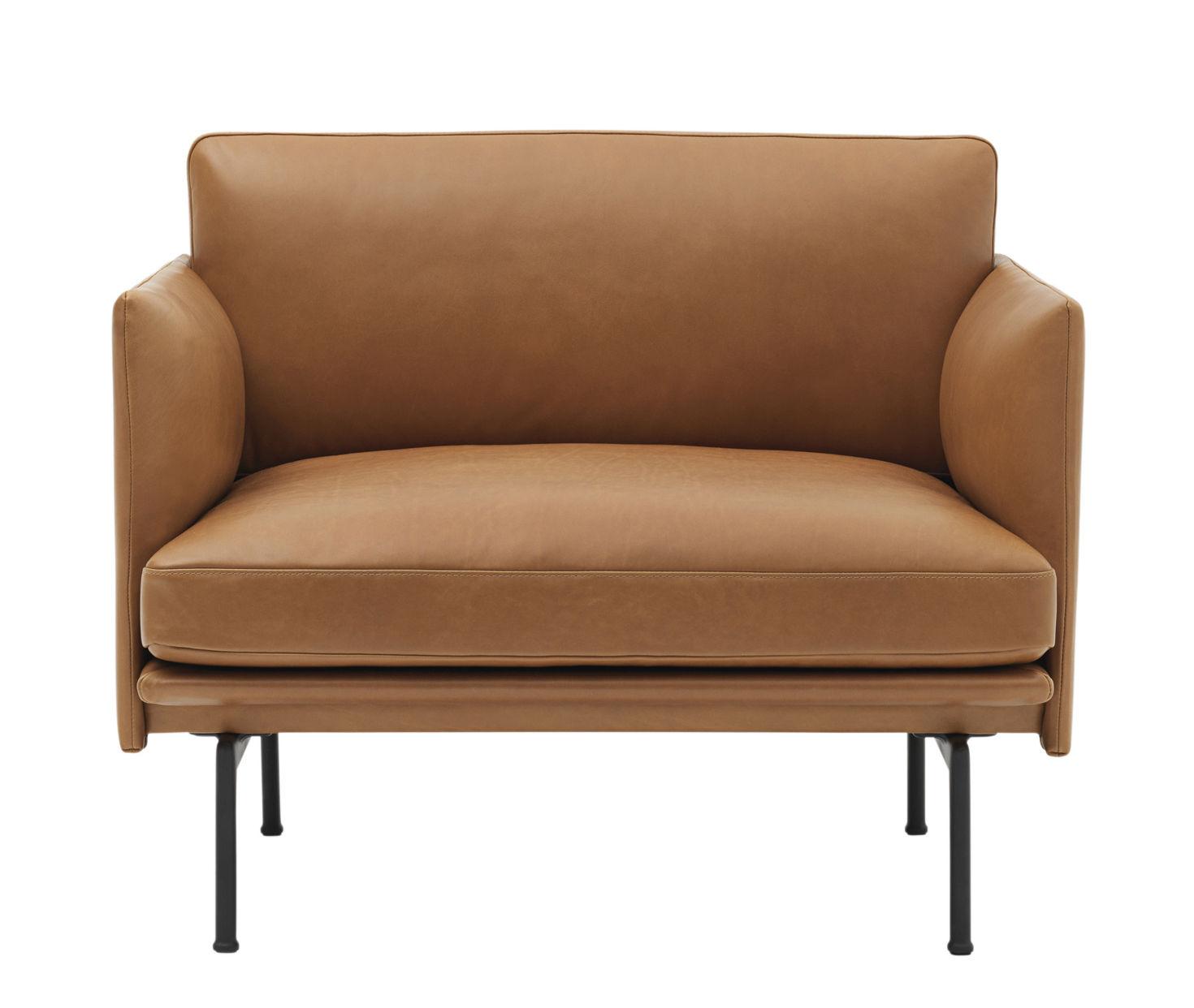 Möbel - Lounge Sessel - Outline Gepolsterter Sessel / Leder - Muuto - Lederbezug cognacfarben / Füße schwarz - Cuir pleine fleur, High Density-Schaum, lackiertes Aluminium, Plumes