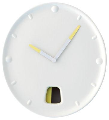 Déco - Tendance humour & décalage - Horloge murale Guichet - Moustache - Écru - Céramique émaillée, Métal laqué