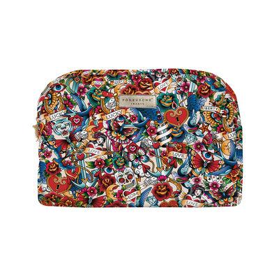 Accessoires - Taschen, Kulturbeutel und Geldbörsen - Tatoo Kulturbeutel / Velours - L 30 cm - PÔDEVACHE - Multi Tatoo / Mehrfarbig - Velours
