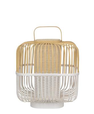 Illuminazione - Lampade da tavolo - Lampada da tavolo Bamboo Square - / Medium - H 56 cm di Forestier - Bianco - Bambù, Legno tinto