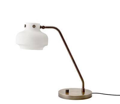 Luminaire - Lampes de table - Lampe de table Copenhague SC15 / LED - Ø 16 cm - Verre - &tradition - Blanc / Bronze - Laiton, Verre soufflé bouche
