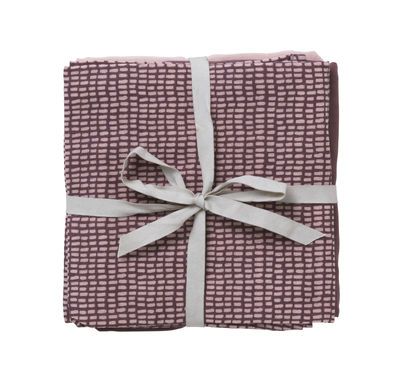 Lange pour bébé / Débarbouillette coton - Lot de 3 - Ferm Living rose,prune,motifs à carreaux en tissu
