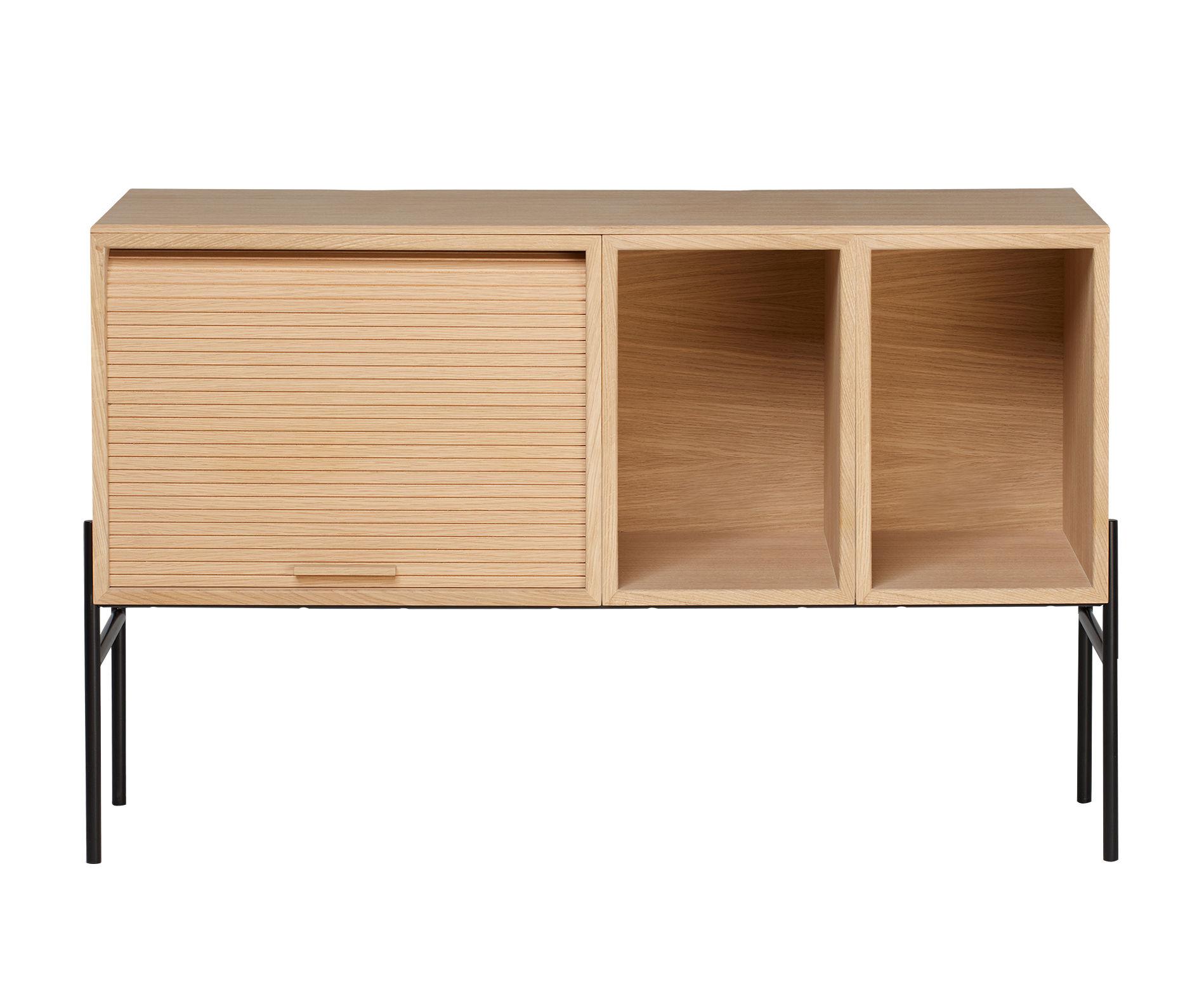 Mobilier - Commodes, buffets & armoires - Meuble TV Hifive / Meuble TV - L 100 x H 65 cm - Northern  - Chêne clair - Acier laqué, Contreplaqué de chêne huilé