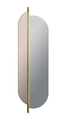 Déco - Miroirs - Miroir mural Totem / Pivotant & bicolore - H 170 cm - RED Edition - Gris & rose  / Laiton - Laiton, Verre fumé
