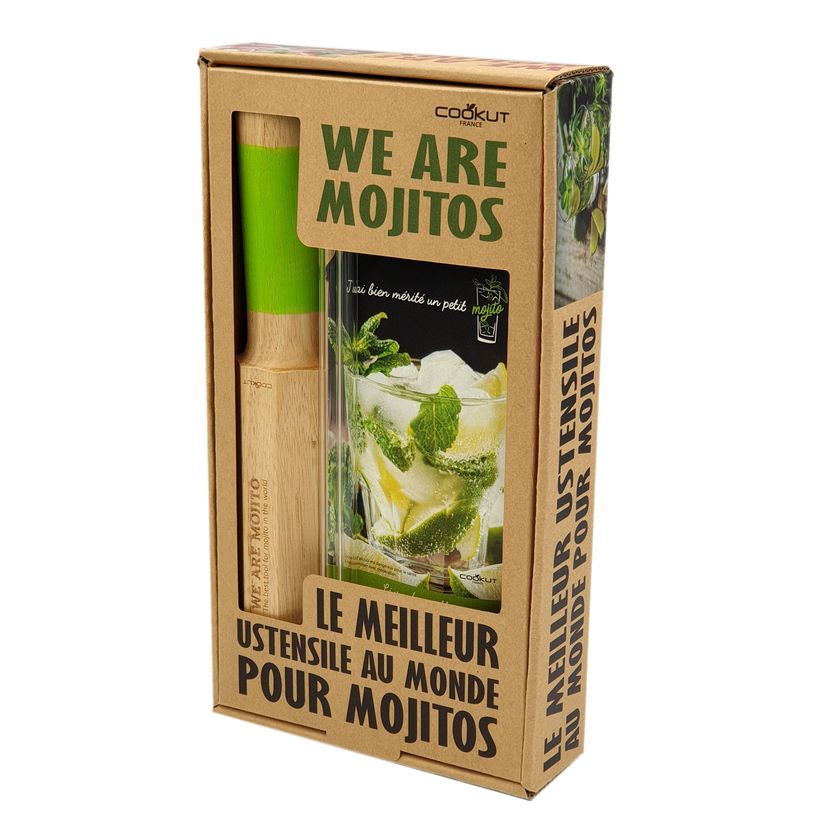 Tableware - Wine Accessories - We Are Mojitos Mojito set - / 4-in-1 pestle + recipe book + 2 glass straws by Cookut - Wood & green - Glass, Hérable massif
