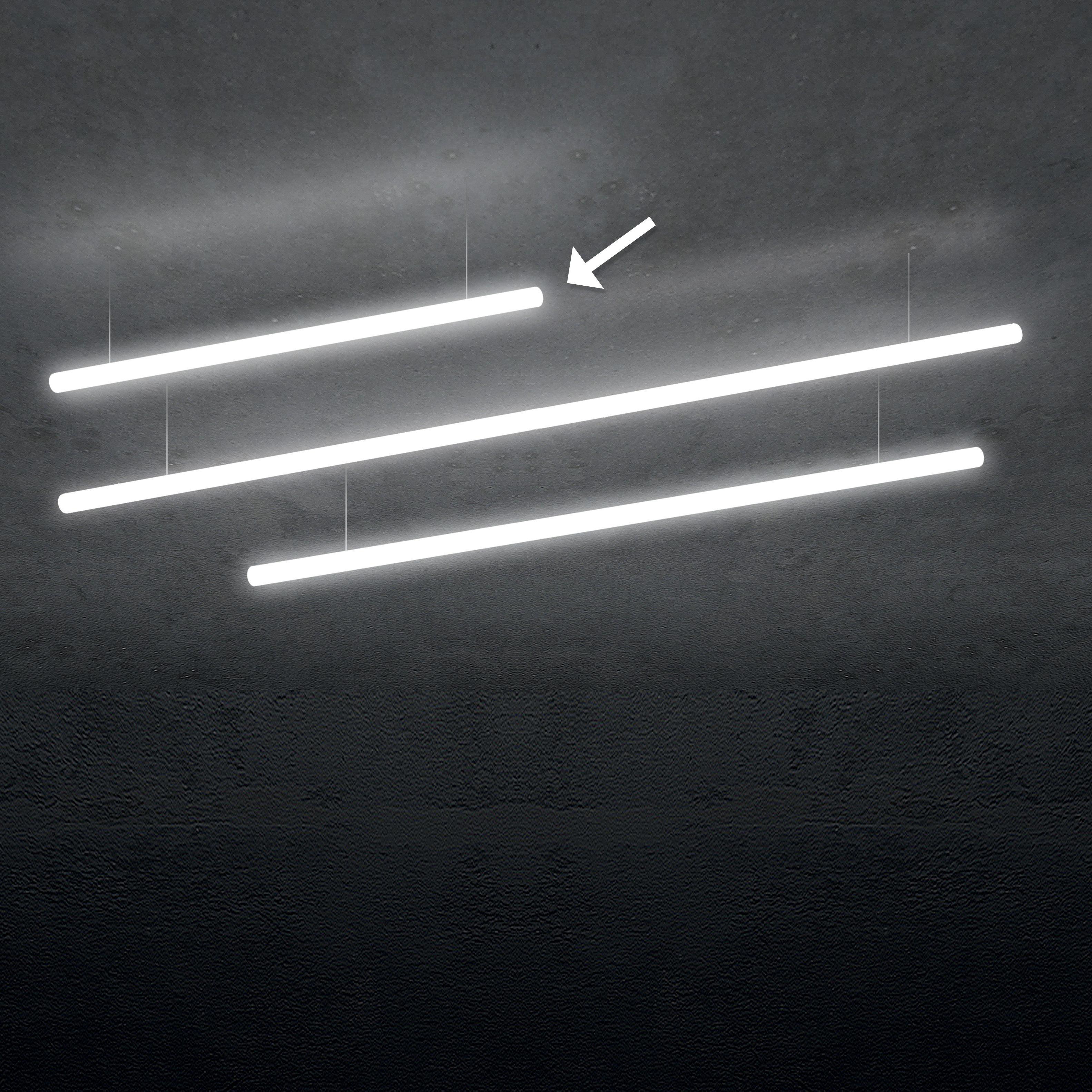 Lighting - Pendant Lighting - Alphabet of light Pendant - / Linear - L 120 cm by Artemide - White / L 120 cm - Aluminium, Methacrylate