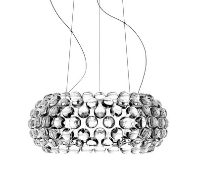Leuchten - Pendelleuchten - Caboche Media LED Pendelleuchte / Ø 50 cm - Foscarini - Transparent - geblasenes Glas, Metall, PMMA