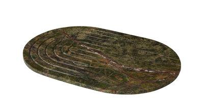 Plateau Rock Ovale Marbre 42 x 28 cm Tom Dixon vert en pierre