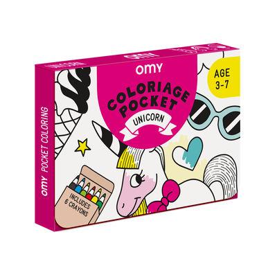 Poster à colorier Coloriage Pocket - Licorne / 52 x 38 cm - OMY Design & Play blanc/noir en papier