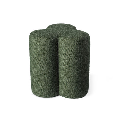 Furniture - Stools - Clover Pouf - / Terry loop fabric by Pols Potten - Green - HR foam, Terry loop fabric, Wood