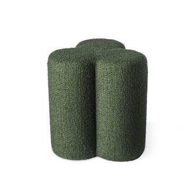 Mobilier - Tabourets bas - Pouf Clover / Tissu bouclette - Pols Potten - Vert - Bois, Mousse HR, Tissu bouclette