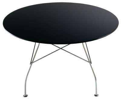 Möbel - Tische - Glossy Runder Tisch - Kartell - Schwarz - lackierte Holzfaserplatte, verchromter Stahl