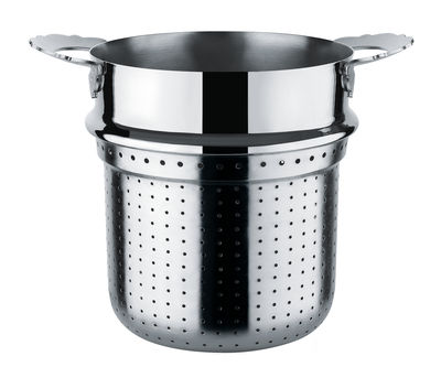 Cucina - Utensili da cucina - Scolapasta - / per pentola di Alessi - Cestello traforato per pentola / Metallo brillante - Acciaio inox 18/10