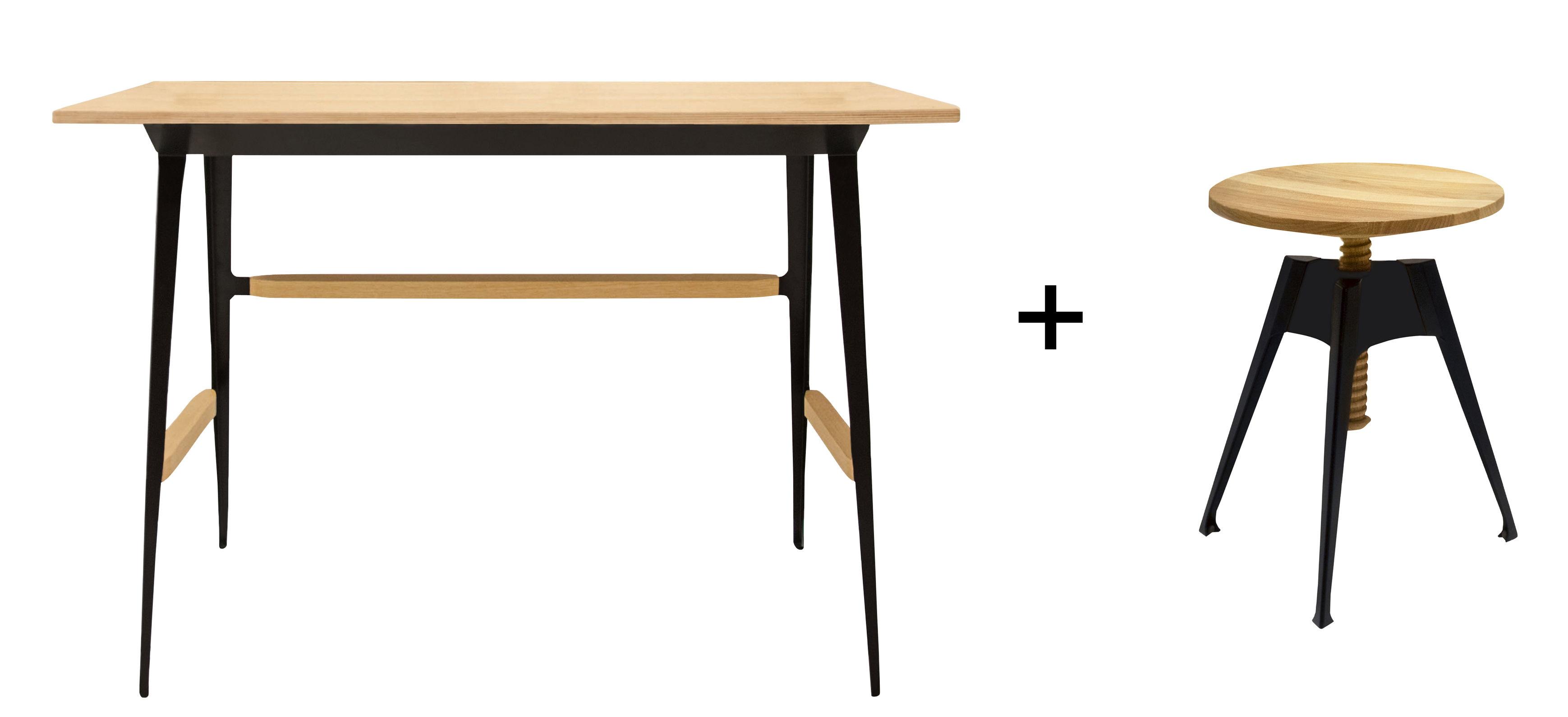 Arredamento - Mobili da ufficio - Scrivania Portable Atelier / Moleskine +  Sgabello - Driade - Legno & nero - Acciaio laccato, Compensato di betulla, Compensato di rovere