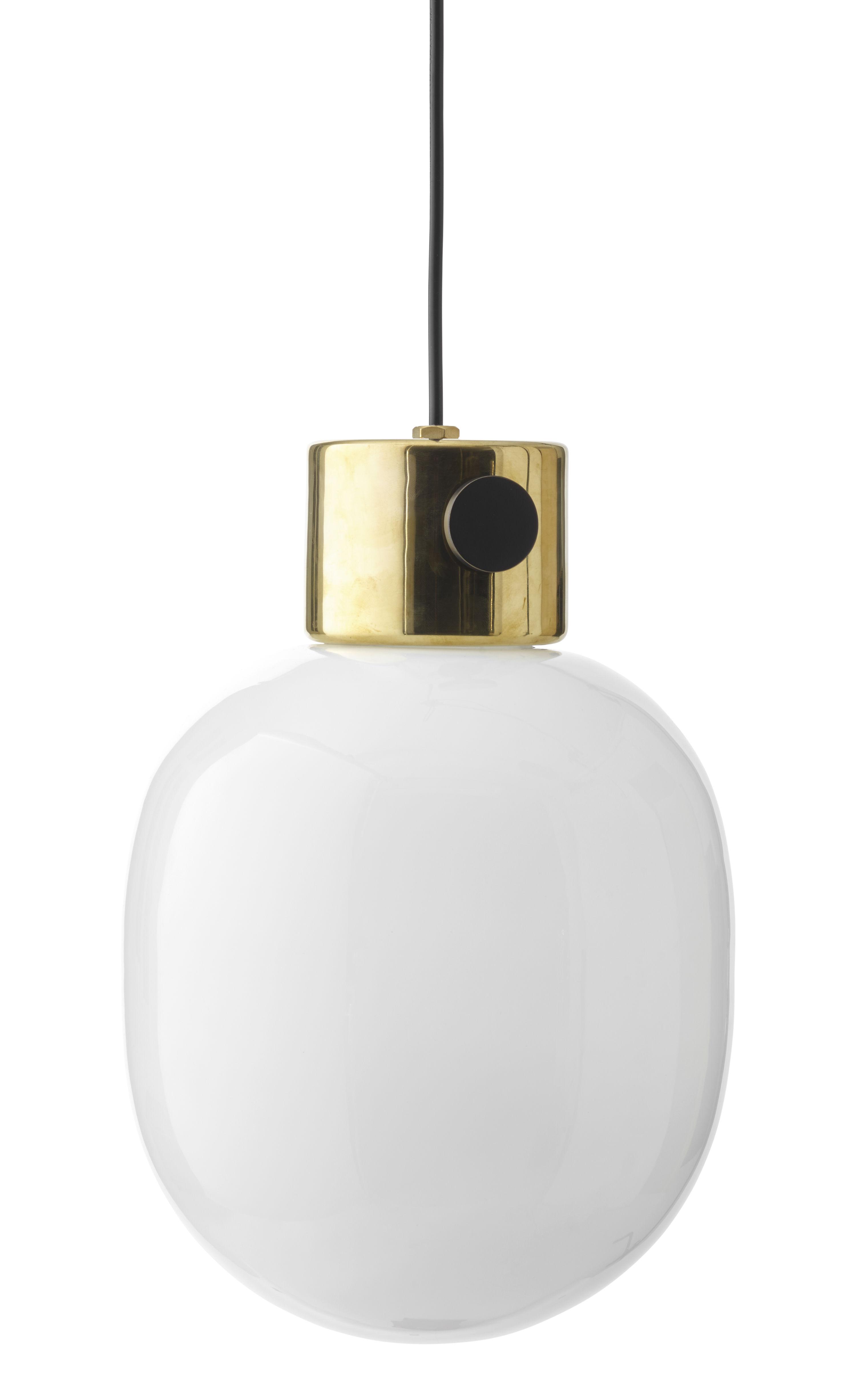 Illuminazione - Lampadari - Sospensione JWDA / Variatore sul paralume - Vetro soffiato - Menu - Ottone lucidato / Bianco - Ottone lucido, Vetro opalino