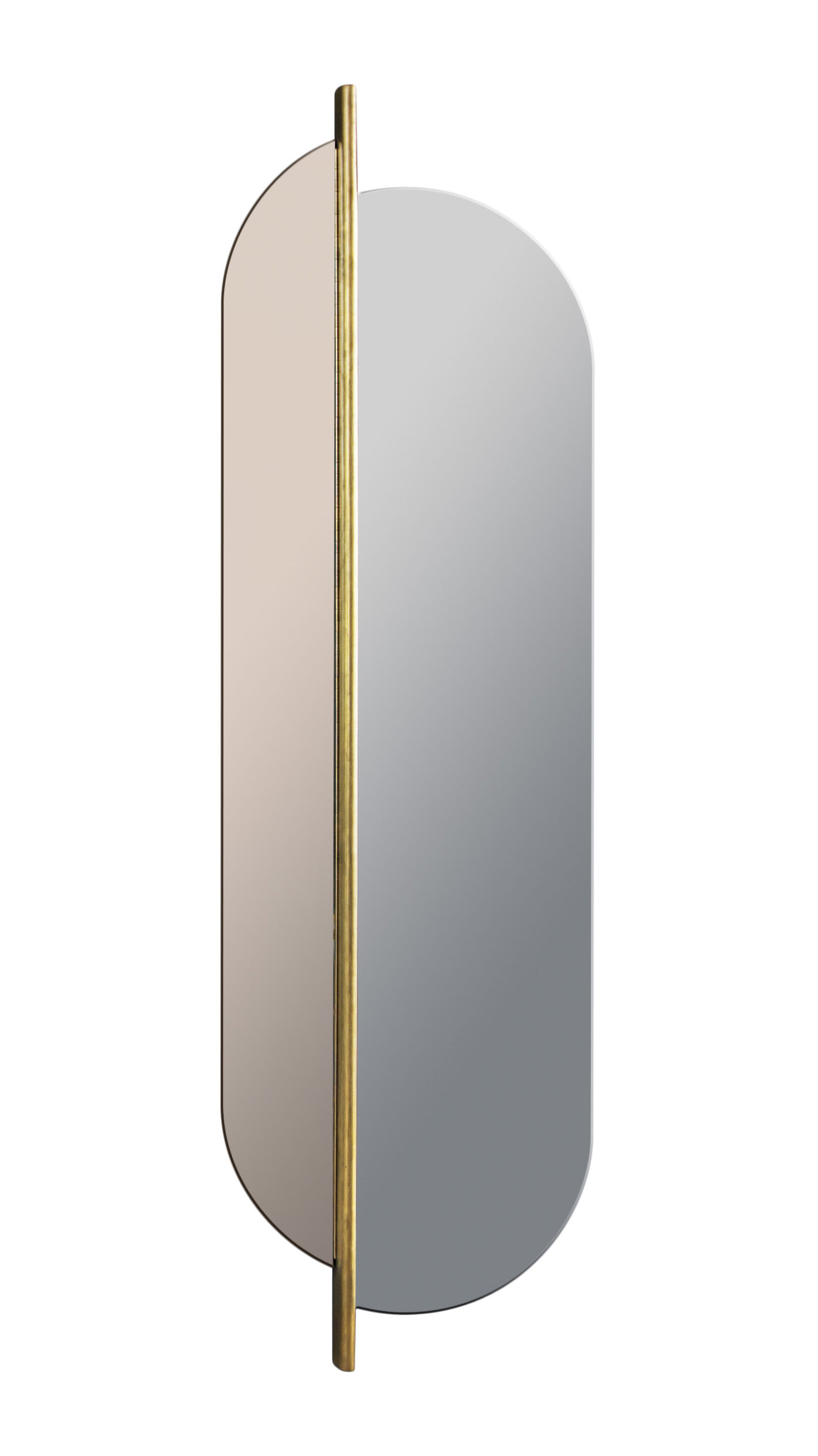 Interni - Specchi - Specchio murale Totem - / Girevole & bicolore - H 170 cm di RED Edition - Grigio & Rosa  / ottone - Ottone, Verre fumé