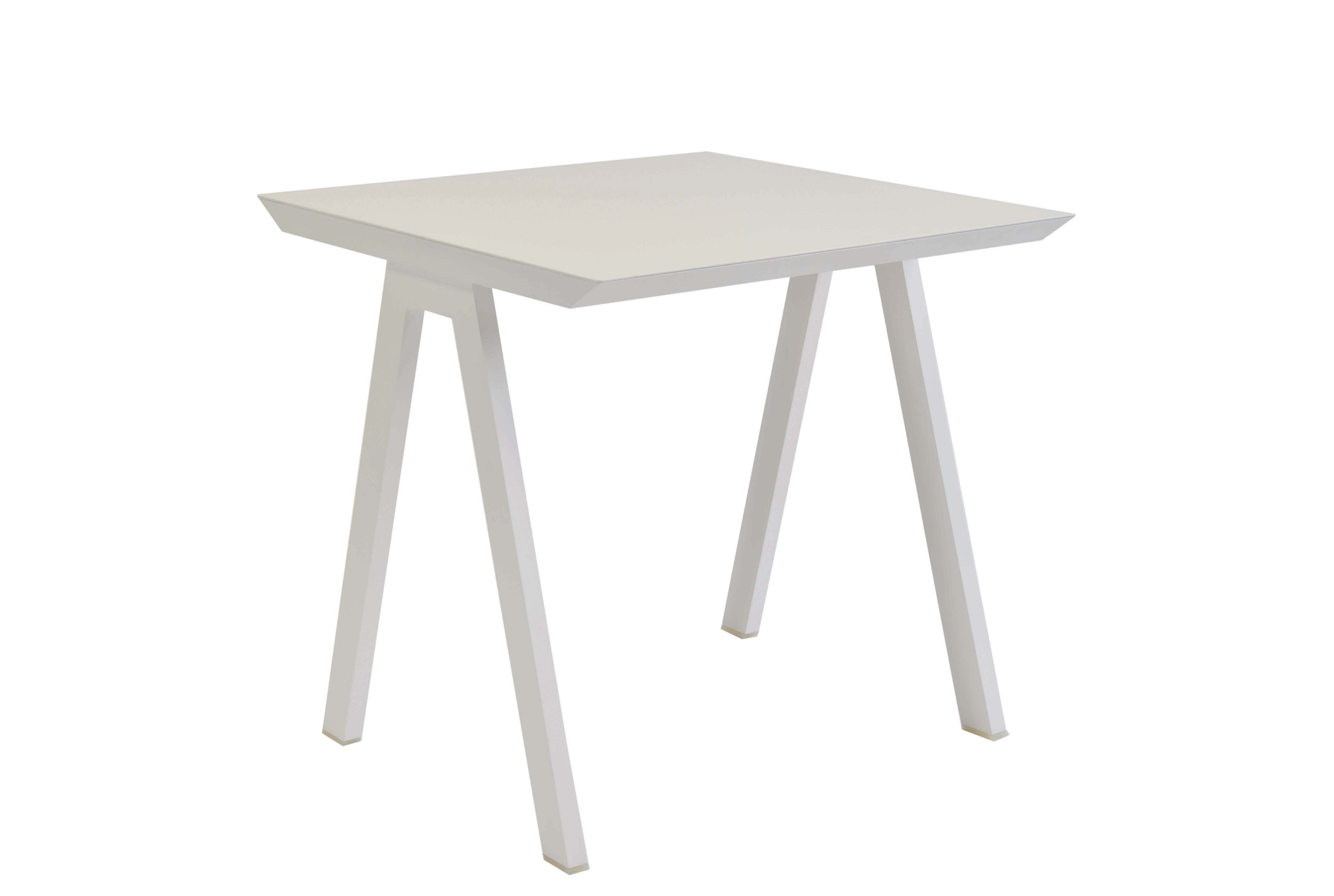 Outdoor - Garden Tables - Vanity Square table - / 80 x 80 cm - Aluminium by Vlaemynck - White - Lacquered aluminium