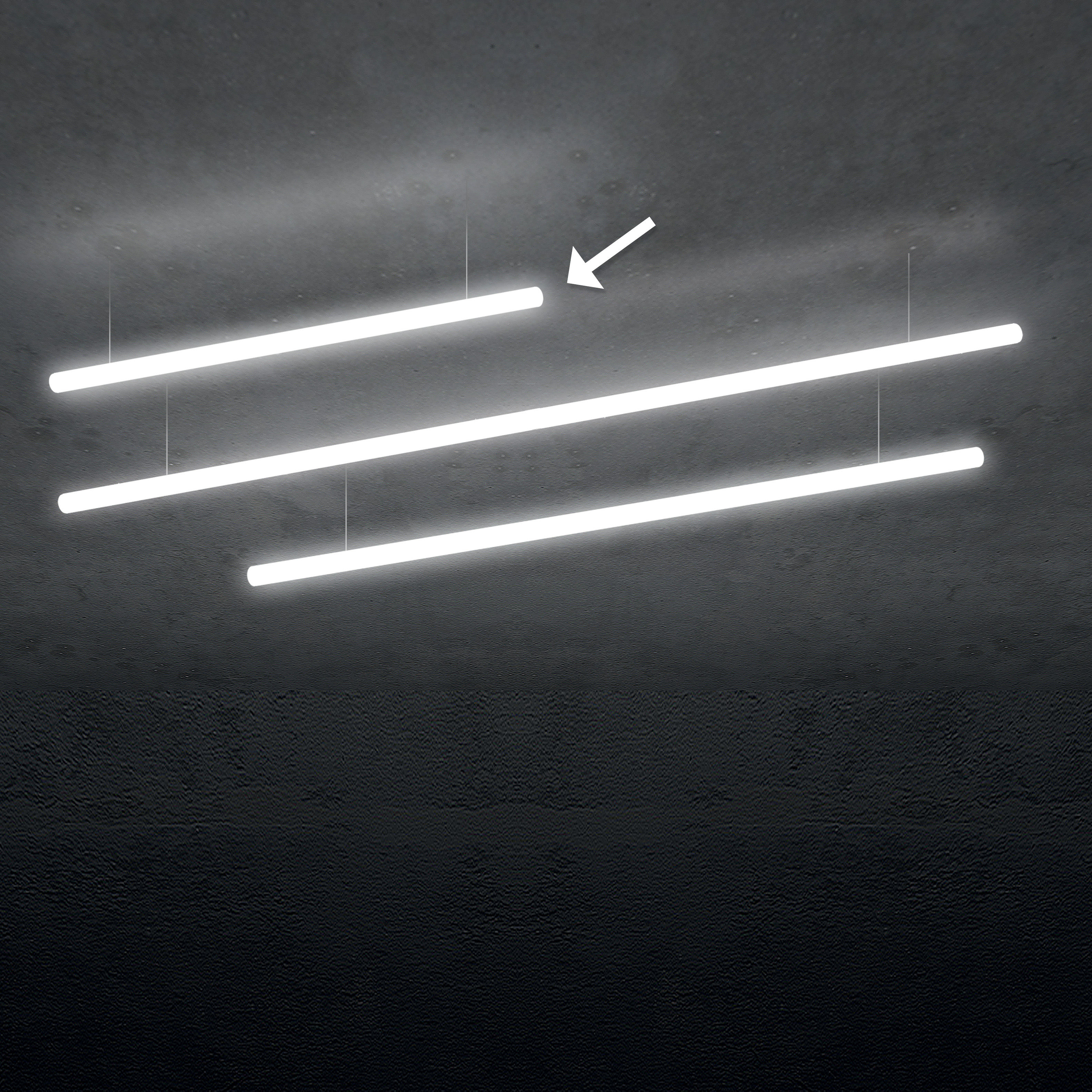 Luminaire - Suspensions - Suspension Alphabet of light / Linéaire - L 120 cm - Artemide - Blanc / L 120 cm - Aluminium, Méthacrylate