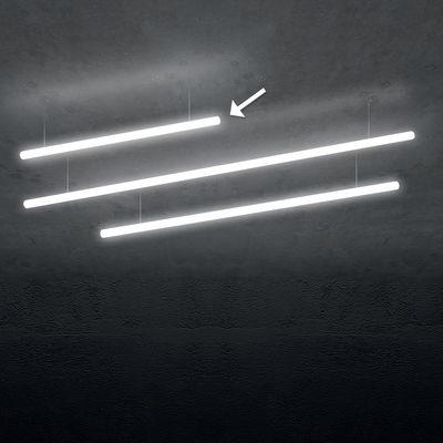 Luminaire - Suspensions - Suspension Alphabet of light Linear / LED - L 120 cm - Artemide - L 120 cm / Blanc - Aluminium, Méthacrylate