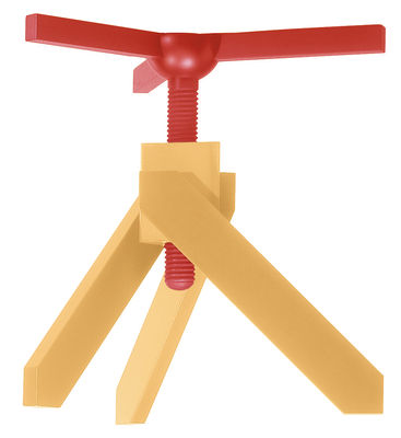 Table à hauteur réglable Vidun / Ø 130 cm - De Padova jaune/rouge en verre/bois