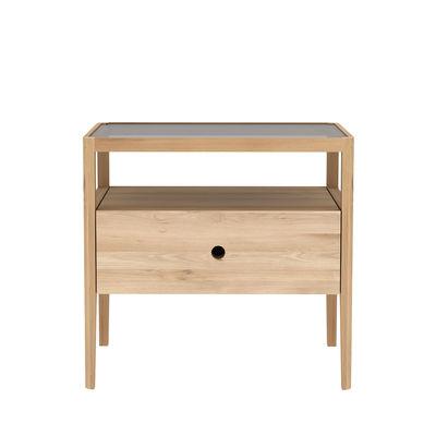 Mobilier - Tables basses - Table de chevet Spindle / Chêne massif & verre - 1 tiroir - Ethnicraft - Chêne naturel - Chêne massif, Verre