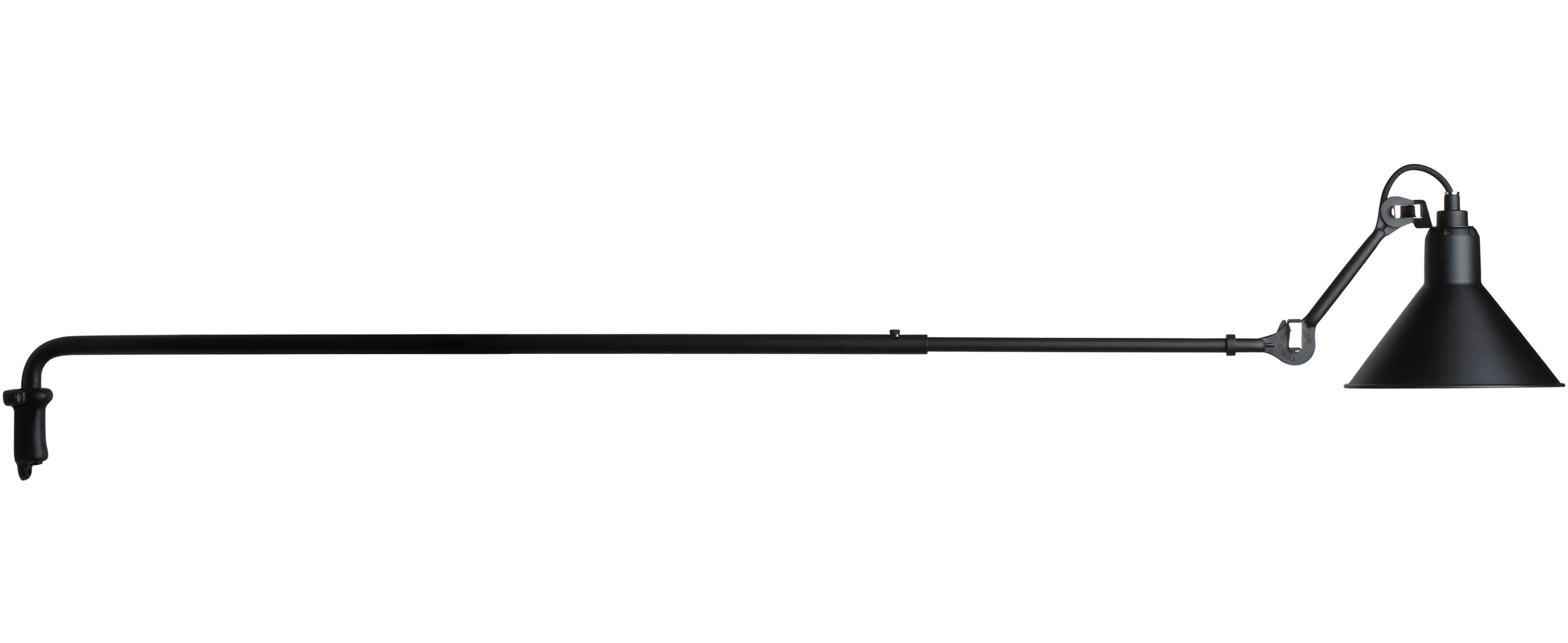 Lighting - Wall Lights - N°213 Wall light - With telescopic arm by DCW éditions - Lampes Gras - Black satin - Steel