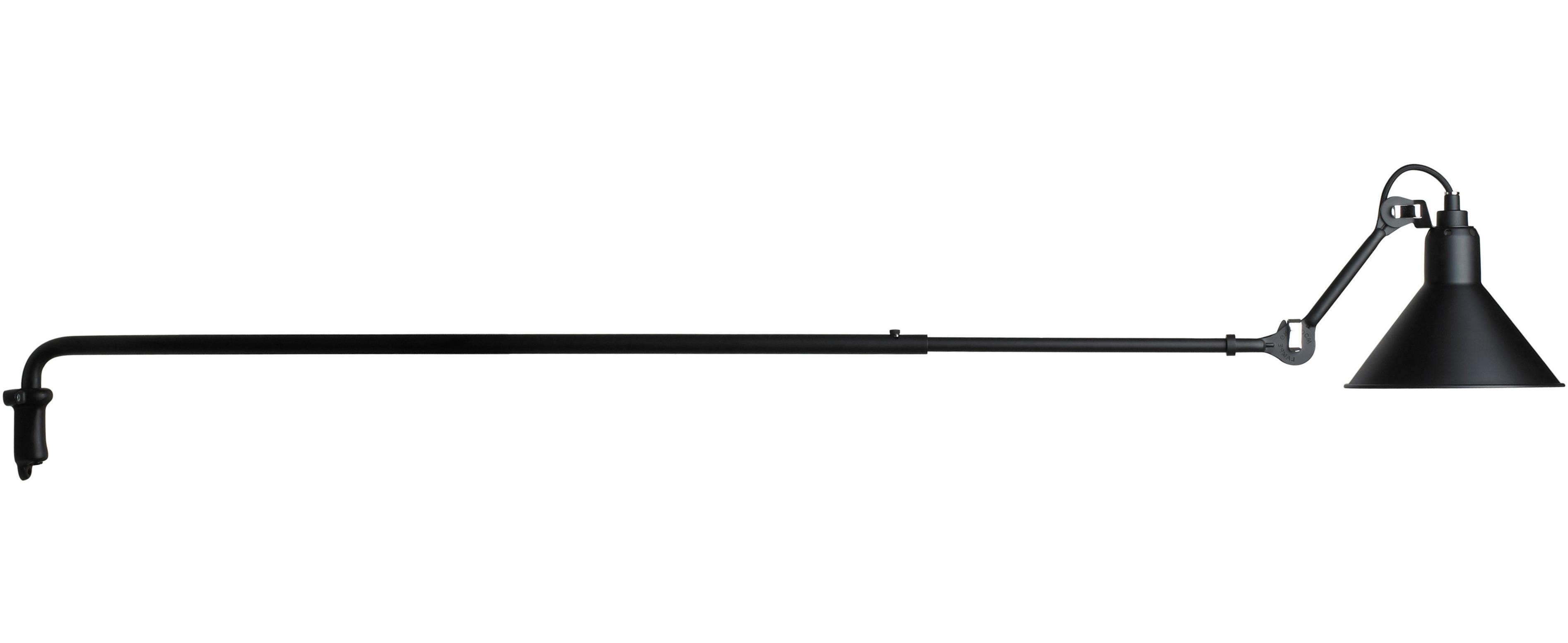 Leuchten - Wandleuchten - N°213 Wandleuchte / mit Teleskoparm - DCW éditions - Schwarz, matt - Stahl