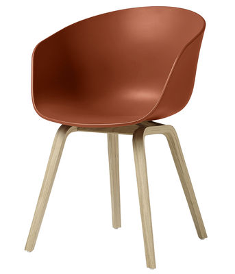 Furniture - Chairs - About a chair AAC22 Armchair - Plastic & wood legs by Hay - Orange / Wood legs - Natural oak, Polypropylene