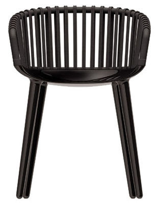 Furniture - Chairs - Cyborg Club Armchair - Polycarbonate & wicker backrest by Magis - Glossy black / Black wicker back - Polycarbonate, Tainted wicker