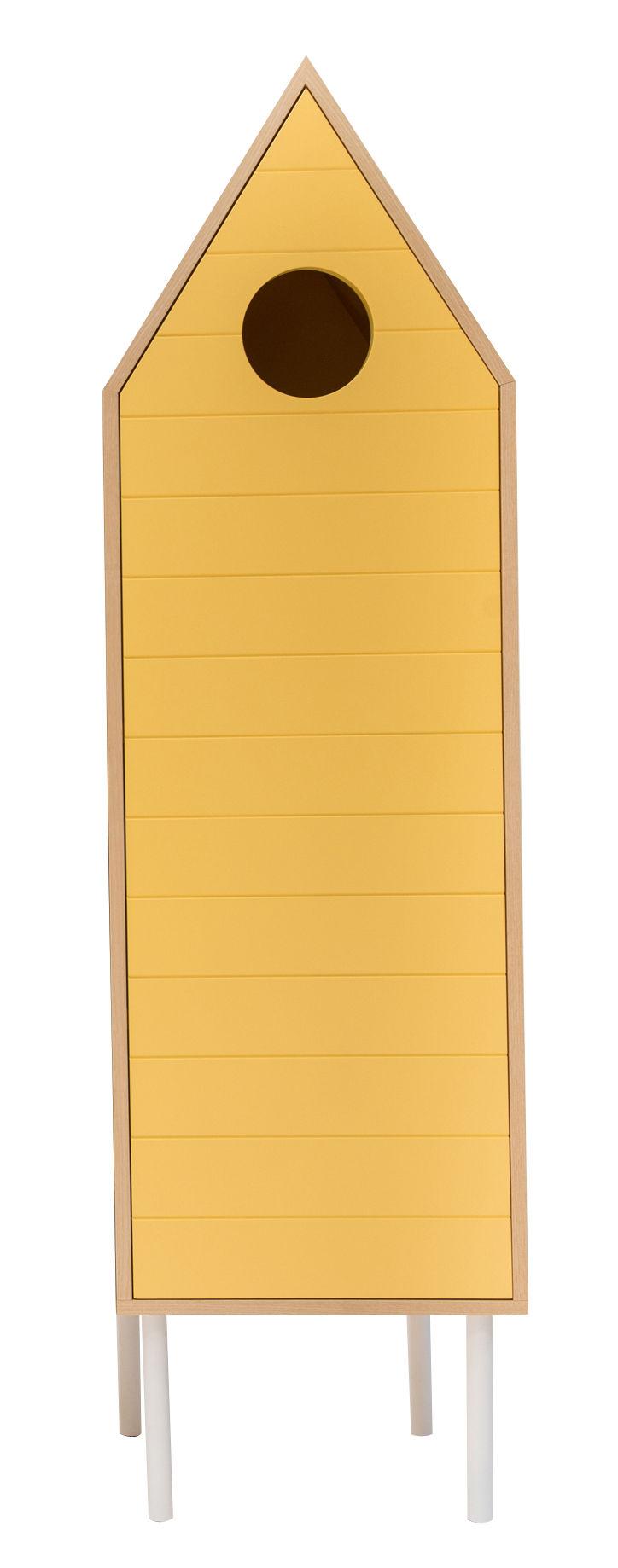 Mobilier - Meubles de rangement - Armoire Levante / Avec porte - L 50 x H 180 cm - Valsecchi 1918 - Bois clair / Jaune - Bois laqué, Contreplaqué de frêne, MDF peint
