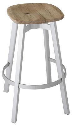 Furniture - Bar Stools - Su Bar stool - H 76 cm - Wood seat by Emeco - Seat : Oak - Legs : Aluminium - Aluminium recyclé, Solid oak