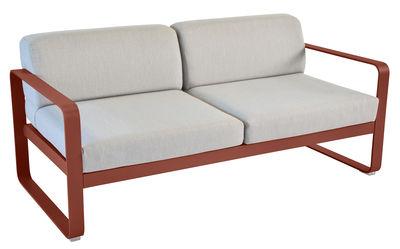 Canapé droit Bellevie 2 places / L 160 cm - Tissu gris - Fermob ocre rouge,gris flanelle en métal