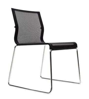 Mobilier - Chaises, fauteuils de salle à manger - Chaise empilable Stick Chair / Assise tissu - ICF - Noir/ Base chrome - Acier, Aluminium, Tissu