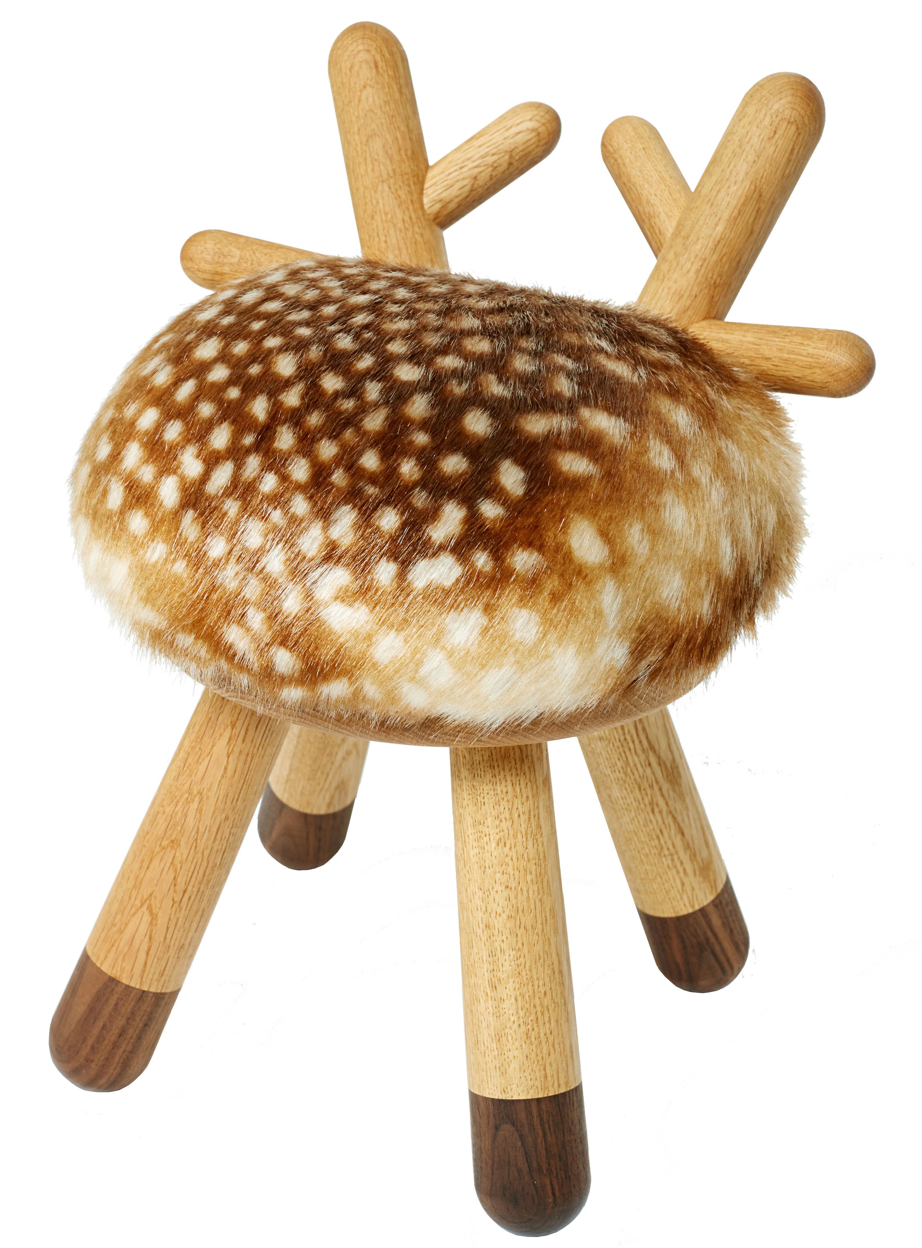 Mobilier - Mobilier Kids - Chaise enfant Bambi / H 40 cm - Elements Optimal - Faon - Chêne massif, Fourrure synthétique, Mousse, Noyer massif