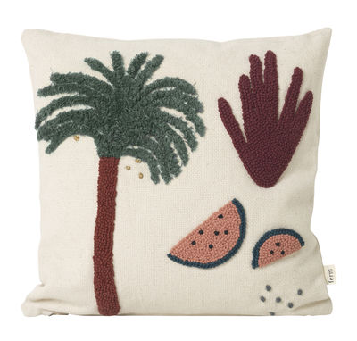 Decoration - Children's Home Accessories - Palmier Cushion - / Embroidered - 40 x 40 cm by Ferm Living - Palm tree / Cream -  Duvet,  Plumes, Cotton