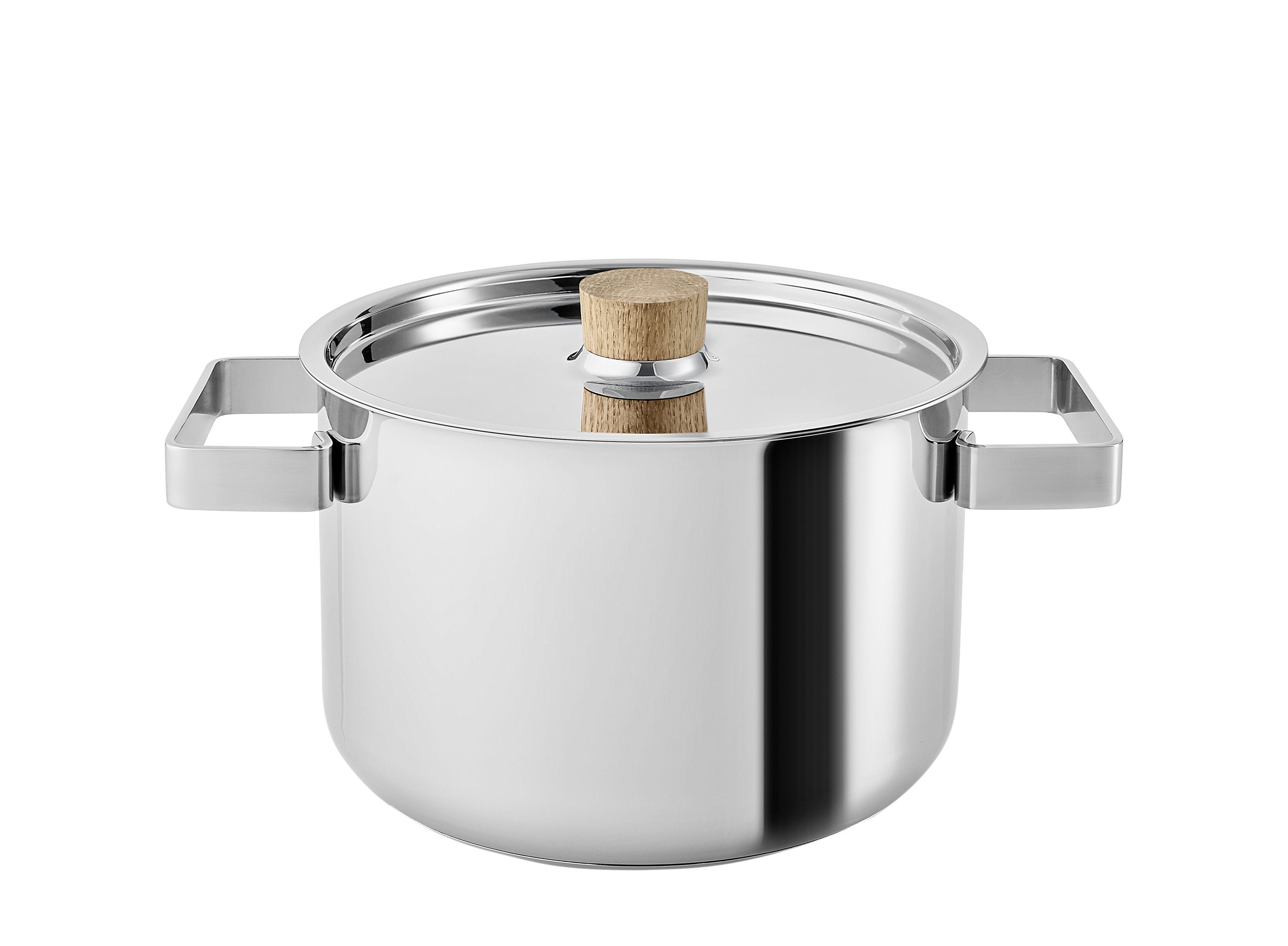 Cuisine - Casseroles, poêles, plats... - Faitout Nordic Kitchen / 3 L - Avec couvercle - Eva Solo - Inox / Chêne - Acier inoxydable, Chêne