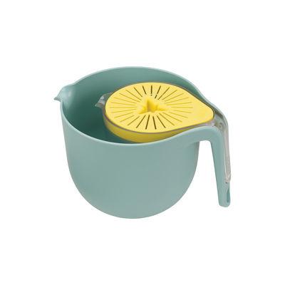 Kitchenware - Kitchen Equipment - Nest Trio Kitchenware set - / Mixing bowl + measuring jug + citrus juicer by Joseph Joseph - Blue & yellow - Plastic material
