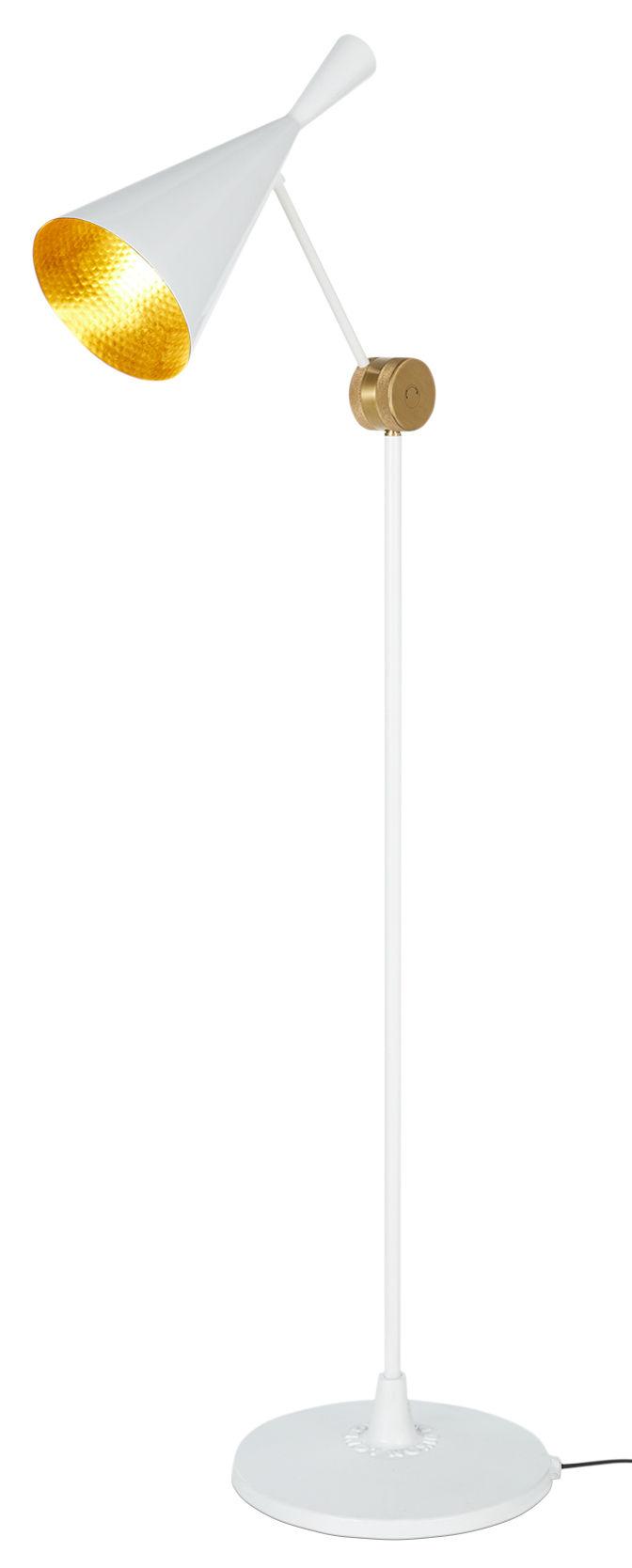 Luminaire - Lampadaires - Lampadaire Beat / H 157 cm - Tom Dixon - Blanc brillant - Fonte, Laiton