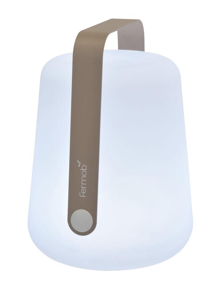 Leuchten - Tischleuchten - Balad Large LED Lampe ohne Kabel / H 38 cm - mit USB-Ladekabel - Fermob - Muskat - Aluminium, Polyäthylen