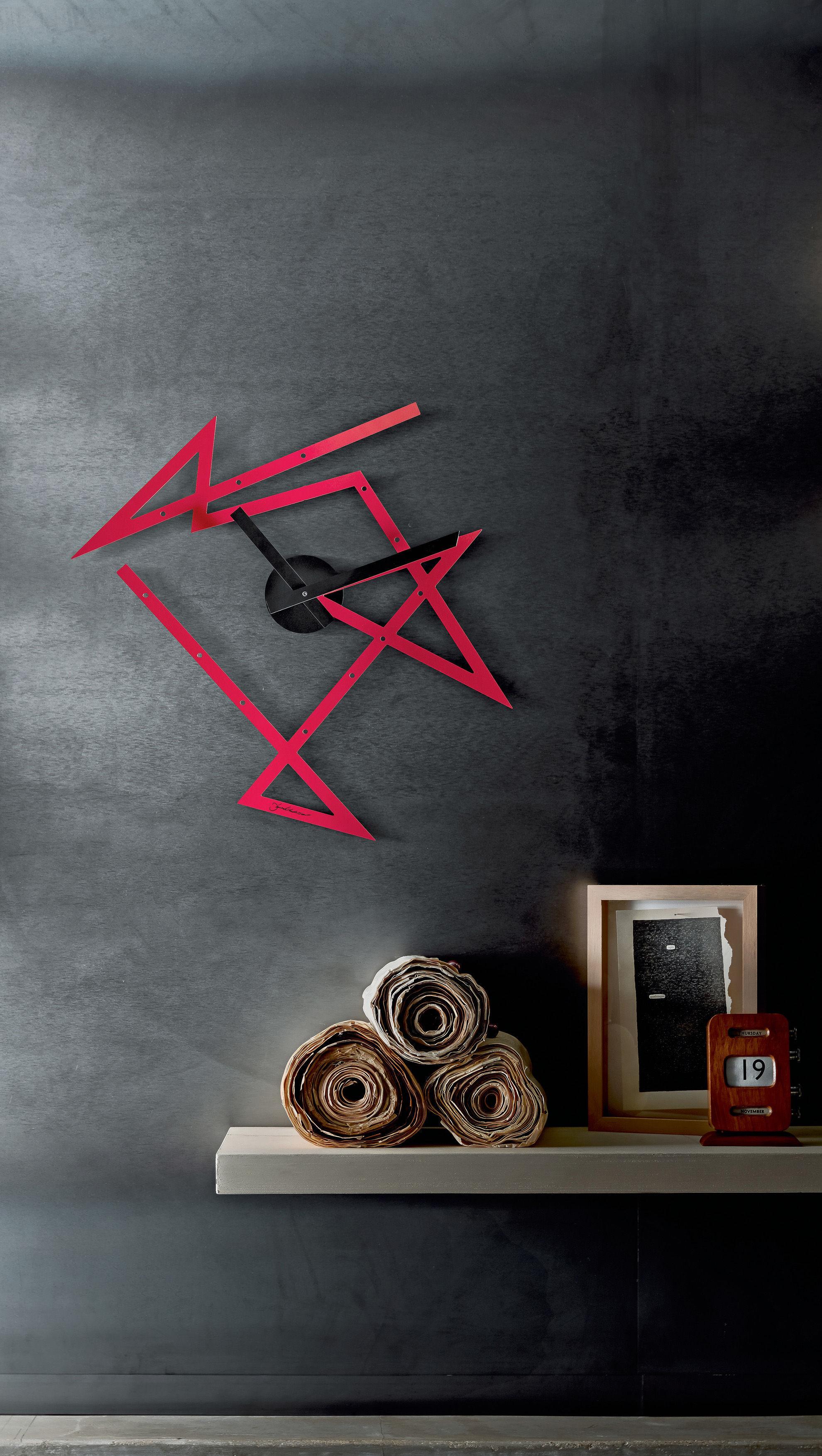 Appendiabiti Da Parete Alessi.Orologio Murale Time Maze Alessi Rosso Lancette Nere L 50 X H