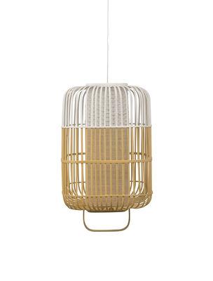 Leuchten - Pendelleuchten - Bamboo Square Pendelleuchte / Größe L - H 61 cm - Forestier - Weiß - Bambus