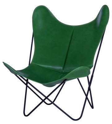 Arredamento - Poltrone design  - Poltrona AA Butterfly - in pelle / Struttura nera di AA-New Design - Struttura nera/ Pelle verde - Acciaio laccato, Pelle