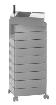 360° Rollcontainer 10 Schubladen - Magis - Grau glänzend