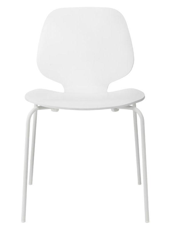 Arredamento - Sedie  - Sedia impilabile My Chair / Seduta legno - Normann Copenhagen - Bianco / Gambe bianche - Acciaio laccato, Placage de frêne