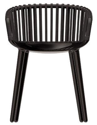 Möbel - Stühle  - Cyborg Club Sessel Rückenlehne Weidenrohr - Magis - Rückenlehne: Weidenrohr schwarz - Beine: schwarz glänzend - Osier teint, Polykarbonat