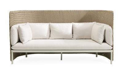 Möbel - Sofas - Esedra Sofa / L 191 cm - Geflochtene Kunstfaser - Ethimo - Stoff weiß / Natur - Geflochtene Kunstfaser, lackiertes Aluminium, Polyacryl-Gewebe, Schaumstoff